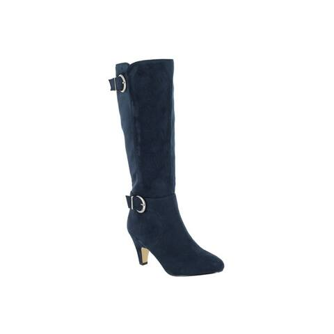 Bella Vita Womens Toni II Plus Navy Super Suede Tall Wide Calf Boot
