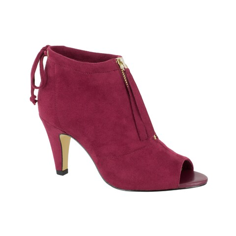 Bella Vita Women's Nicky II Burgundy Super Suede Peep Toe Bootie