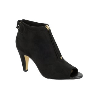 Bella Vita Women's Nicky II Black Suede Peep-toe Booties