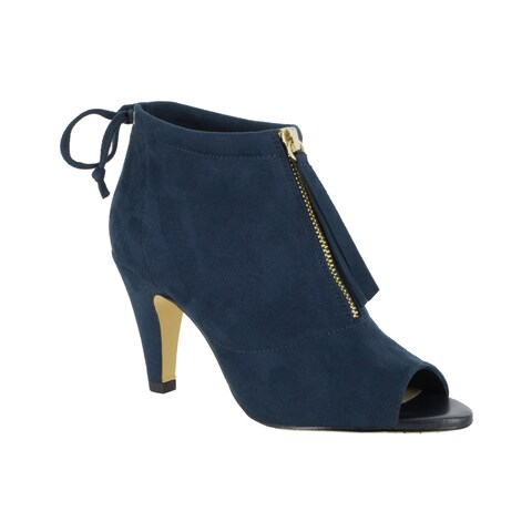 Bella Vita Women's Nicky II Blue Suede Peep-toe Booties