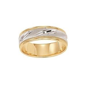 Cambridge Men's 14k Yellow White Gold 6.5-millimeter Wedding Band