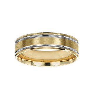 Cambridge 14k Yellow And White Gold 6 Millimeter Wedding Band