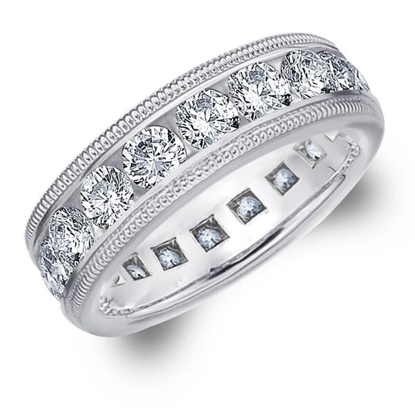 Amore Platinum 4.0 CTTW Milgrain Eternity Diamond Wedding Band - White G