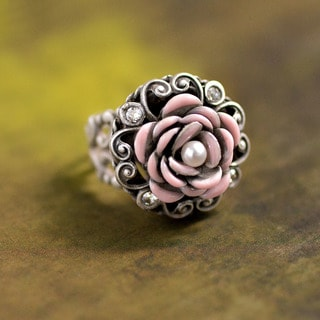 Sweet Romance Silver Shabby Chic Pink Rose and Pearls Ring