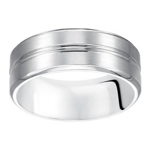 Cambridge Men's 14kt White Gold 8-millimeter Wedding Band