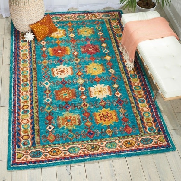 Shop Nourison Vivid Teal Contemporary Area Rug