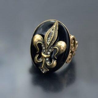 Sweet Romance French Fleur de Lis Old Paris Ring