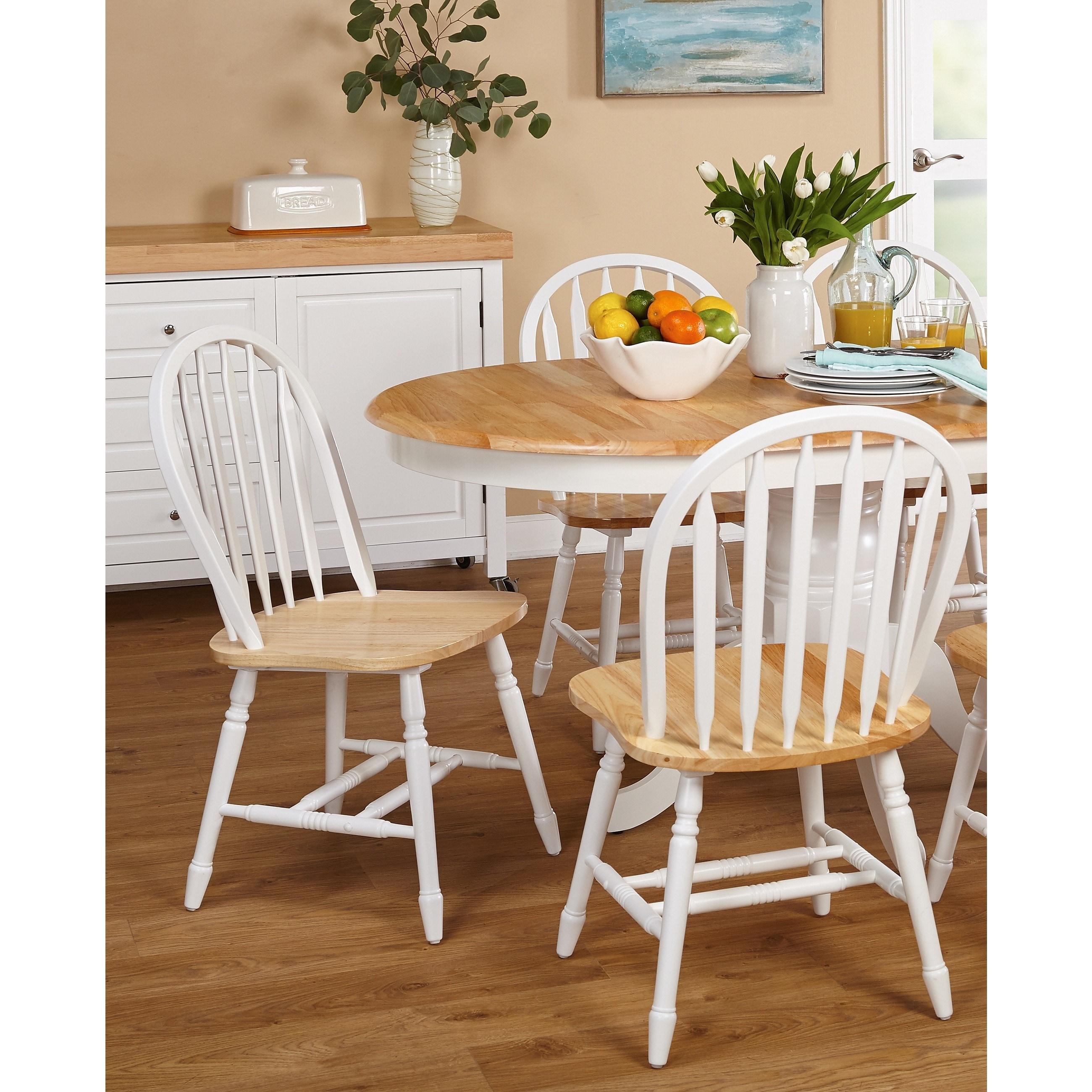 Coastal Dining Chairs Set Windsor Flat Spindle Back Wooden Frame Carved  Legs (2)