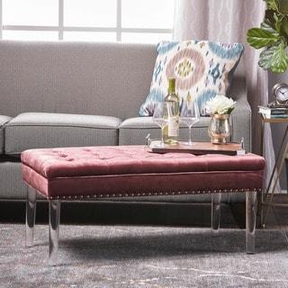 Beatrix New Velvet Ottoman by Christopher Knight Home
