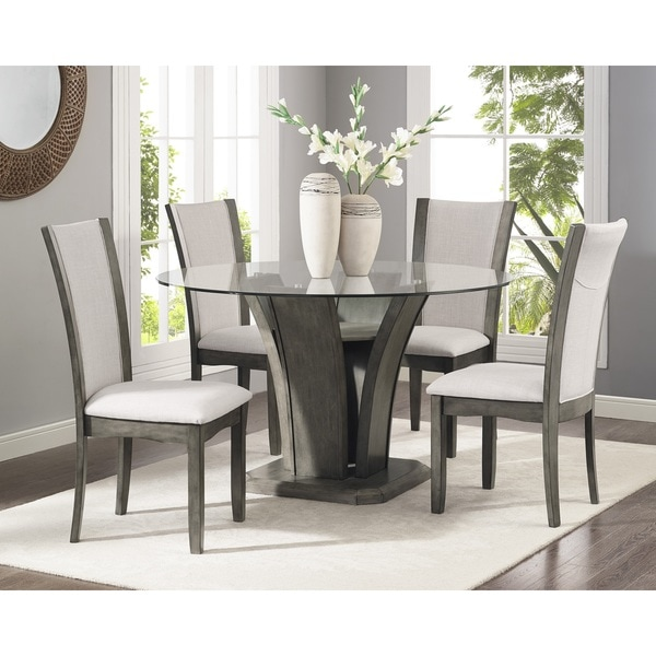 Dining Chairs Sets: Kecco Grey 5-Piece Glass Top Dining Set, Table With 4