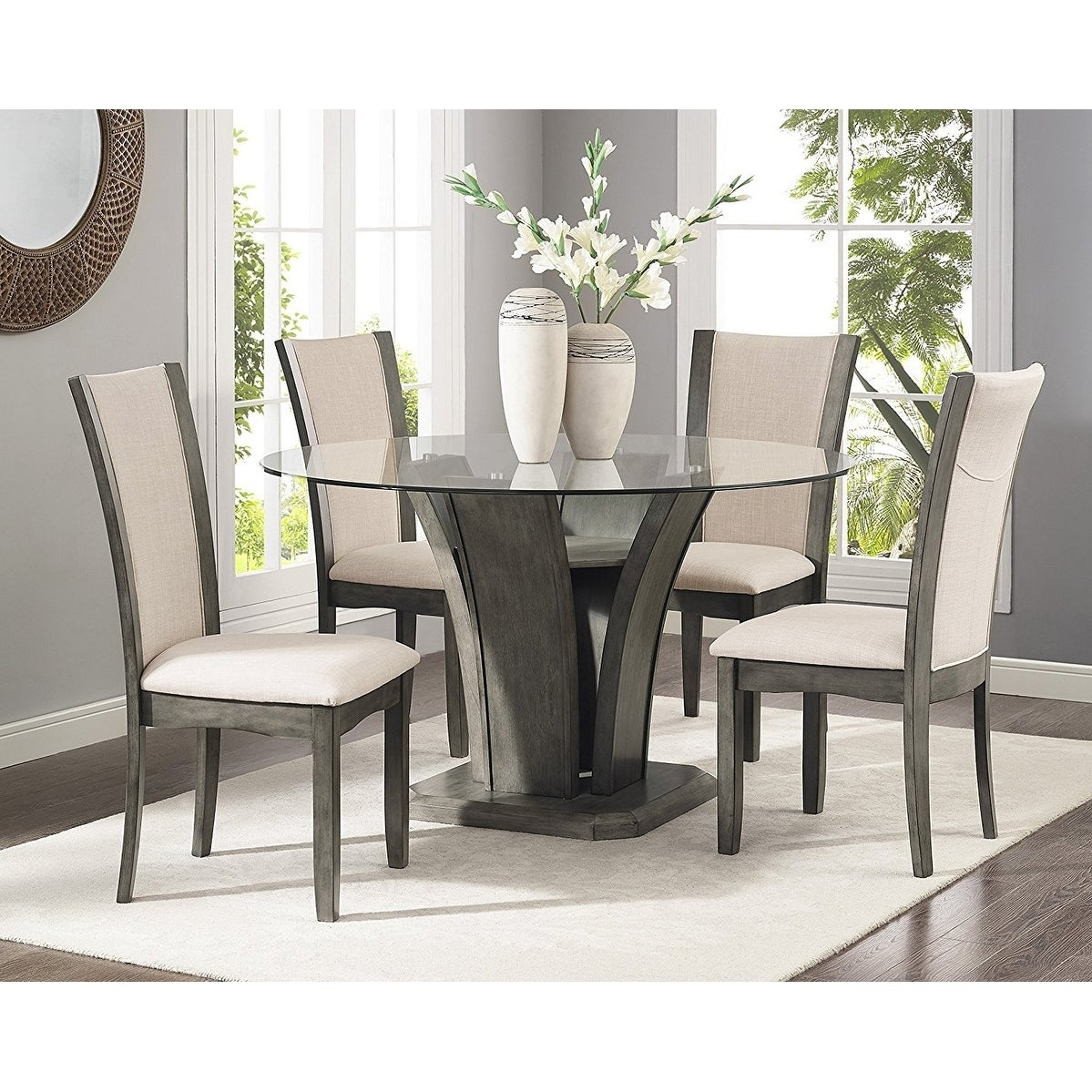 Dining Glass Table Set: Kecco Grey 5-Piece Glass Top Dining Set, Table With 4