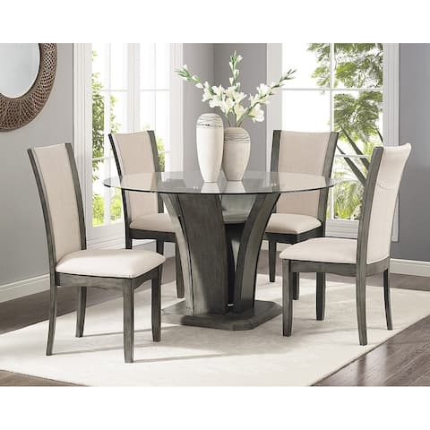 Kecco Grey 5-piece Glass Top Dining Set