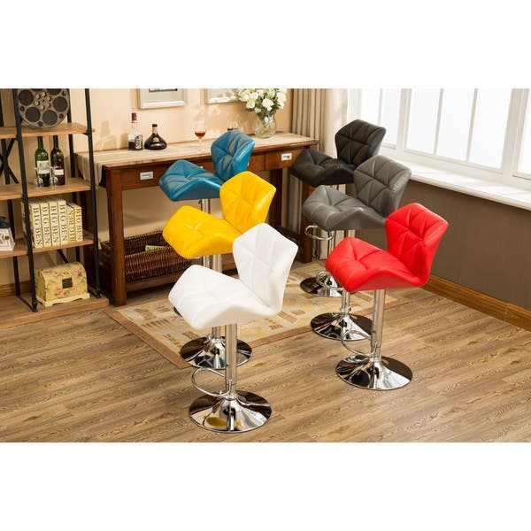 Shop Glasgow Faux Leather Tufted Adjustable Height Bar Stools Set