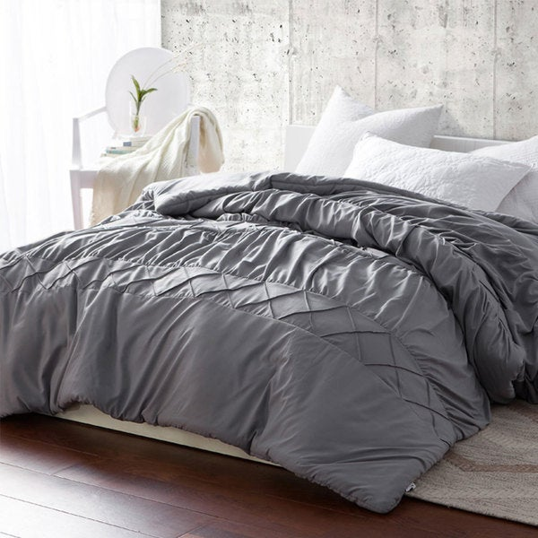 BYB Criss Cross Waves Grey Handcrafted Series Comforter (Shams Not Included)