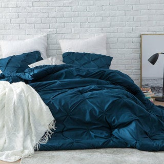 Nightfall Navy Blue Pin Tuck Comforter Set
