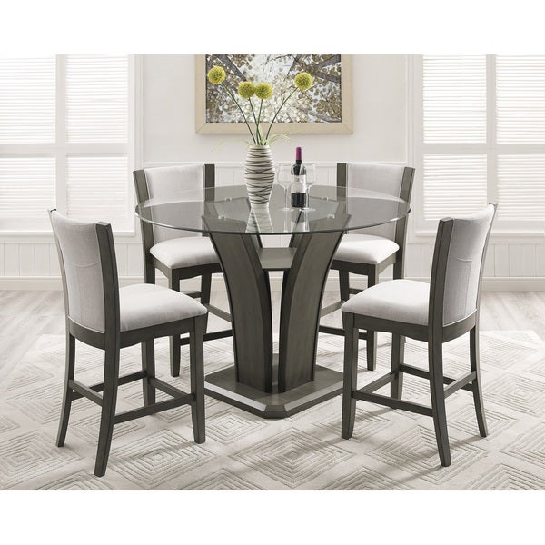 Delicieux Kecco Gray 5 Piece Round Glass Top Counter Height Dining Set