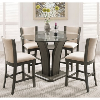 Kecco Gray 5-Piece Round Glass Top Counter Height Dining Set  sc 1 st  Overstock : round wood kitchen table sets - pezcame.com