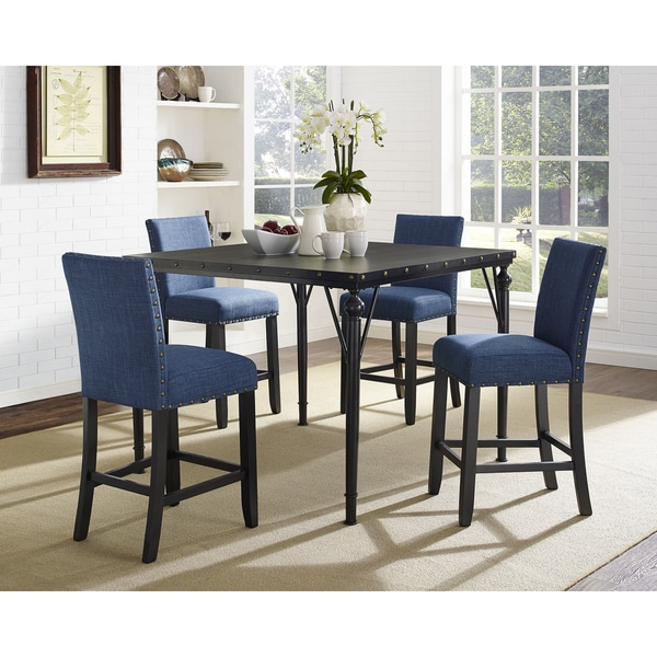 Biony 5 Piece Espresso Wood Counter Height Dining Set With Fabric Nail Head  Chairs