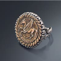 Sweet Romance Silver and Bronze Ancient Roman Pegasus Ring