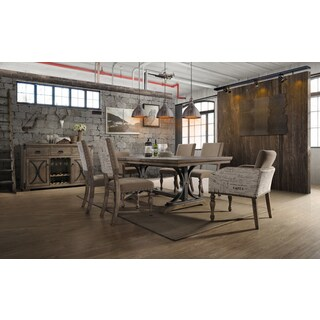 Birmingham Driftwood Finish 7-piece Butterfly Leaf Table with Nail Head Arm Chairs Dining Set