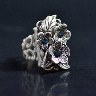Sweet Romance Forget Me Not Crystal Flower Ring