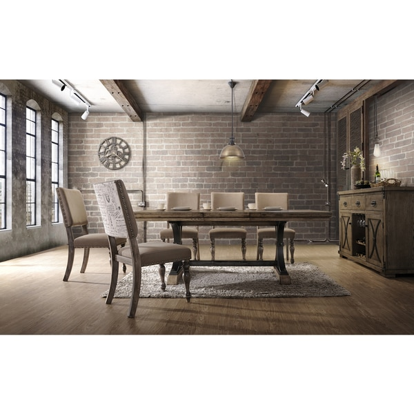 Birmingham 7-piece Driftwood Finish Table with Nail Head Chairs Dining Set. Opens flyout.