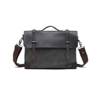 InFurniture Retro 16 ounce Grey Washed Canvas Messenger Bag with Genuine Leather