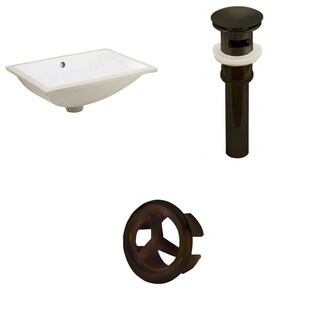 18.25-in. W CUPC Rectangle Undermount Sink Set In White - Oil Rubbed Bronze Hardware - Overflow Drain Incl.