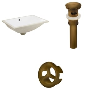 18.25-in. W CUPC Rectangle Undermount Sink Set In White - Antique Brass Hardware - Overflow Drain Incl.