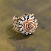 Sweet Romance Vintage Ivory Carved Rose and Swarovski Crystal Elements Ring