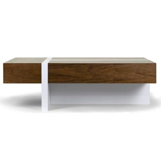 Akari Modern Brown Coffee Table with White Accent Legs and Drawers