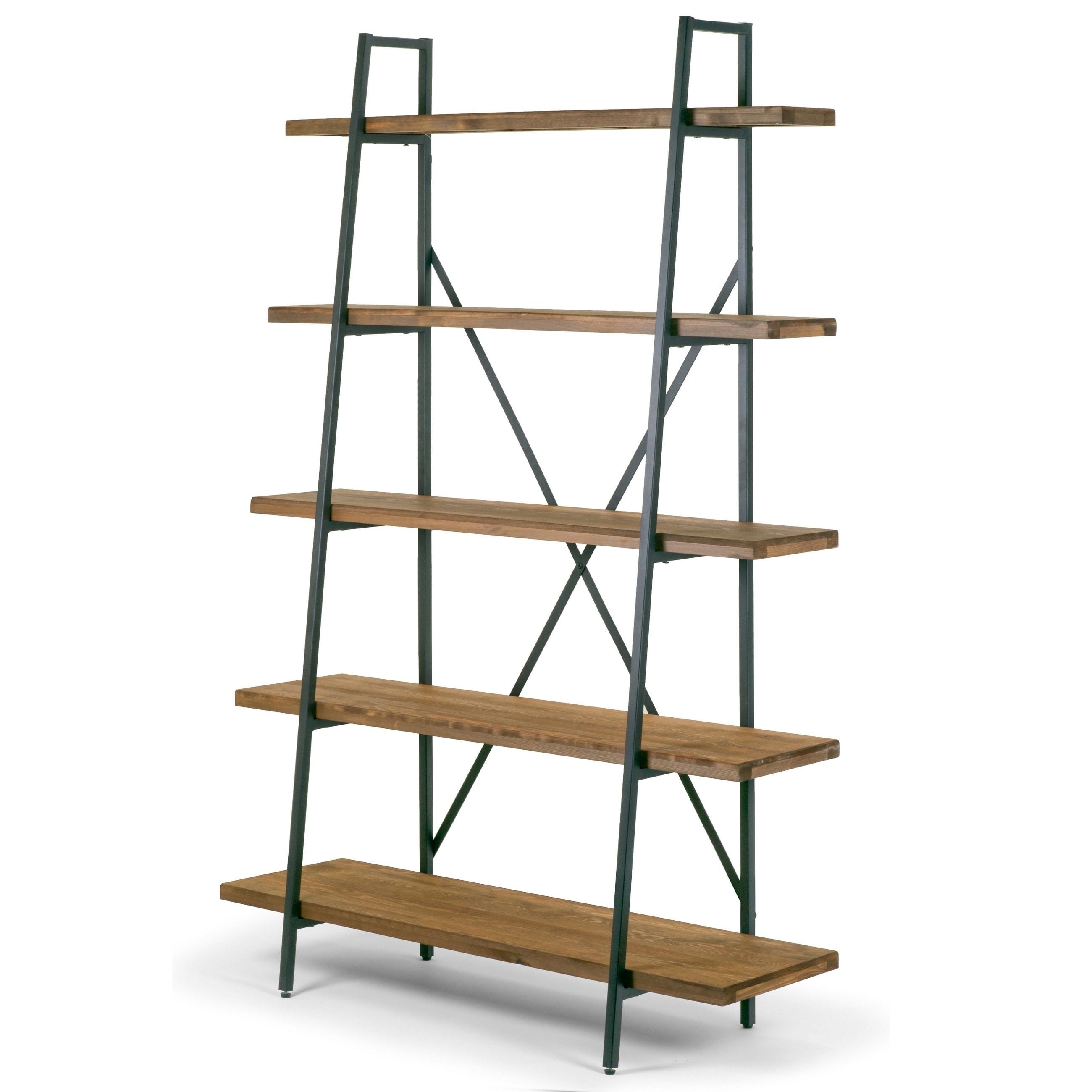 Ailis 71 5 Leaning Etagere Brown Pine Wood Metal Frame Bookcase