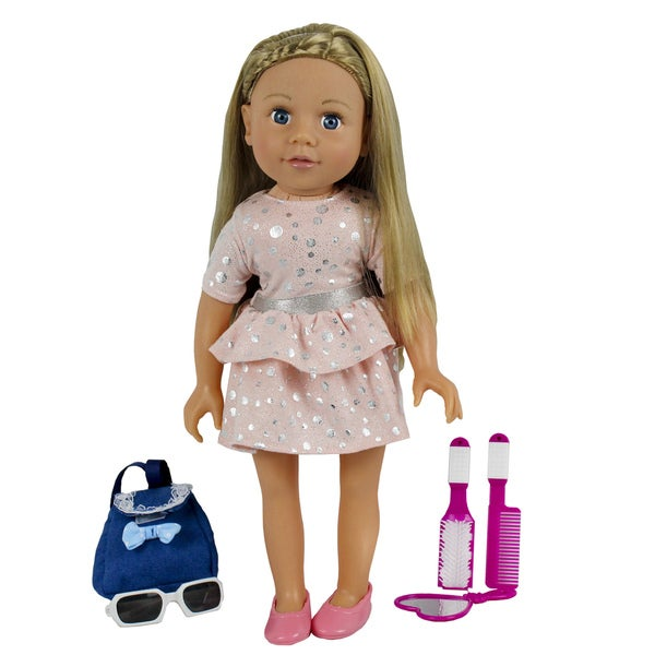Kid Concepts My Best Friend 18-inch Doll in a Pink Dress with Silver Polka Dots