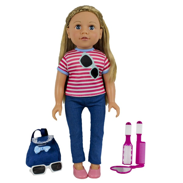 Kid Concepts My Best Friend 18-inch Doll in a Pink Striped Tee Shirt and Jeans