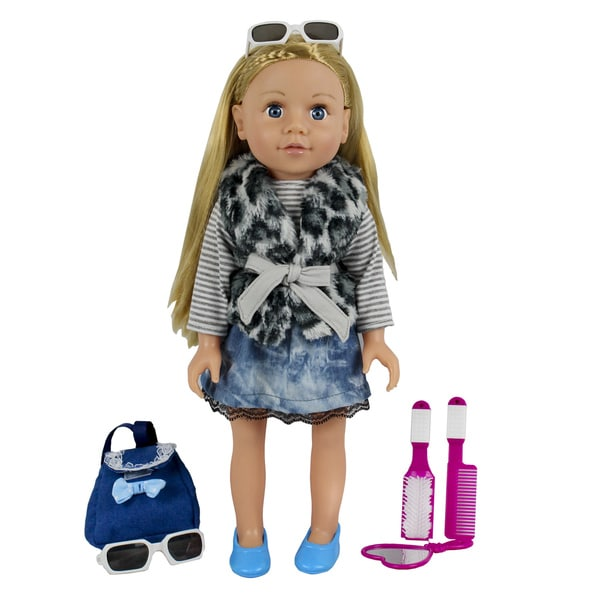 Kid Concepts My Best Friend 18-inch Doll in an Animal Print Vest with Lace Trimmed Skirt