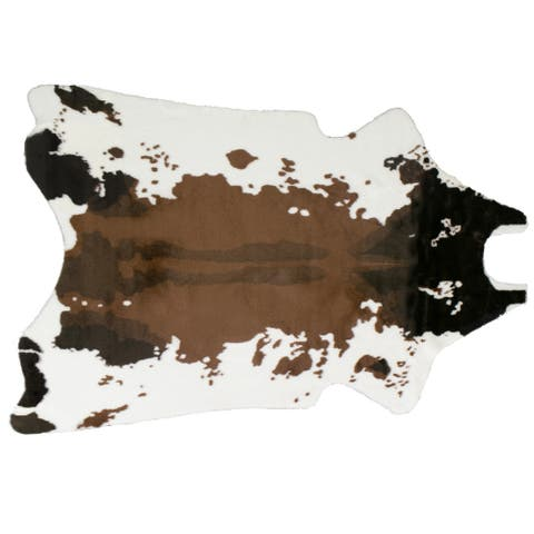 Alecia Faux Cowhide Brown and White Area Rug 68 inch by 50 inch - 6' x 4'