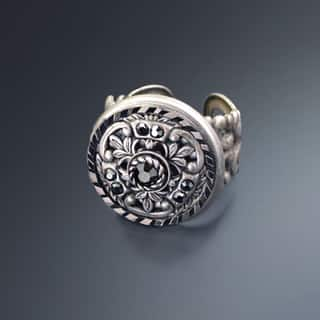 Sweet Romance Vintage French Medallion Hematite Crystal Ring (Option: Brown)|https://ak1.ostkcdn.com/images/products/16685826/P23004777.jpg?impolicy=medium