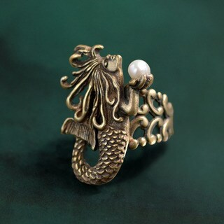 Sweet Romance Vintage Mermaid and Freshwater Pearl Art Nouveau Ring
