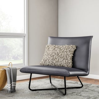Grey Bonded Leather Pillow Lounge Chair