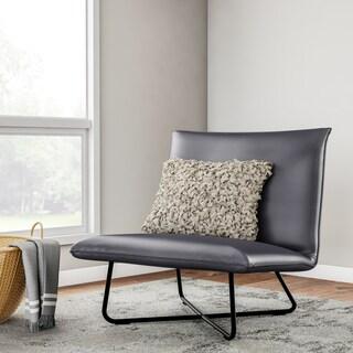 Carson Carrington Grey Bonded Leather Pillow Lounge Chair