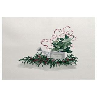 Gardener's Holiday Delight Green Geometric Print Indoor/Outdoor Rug