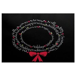 Wreath of Words Black Word Print Indoor/Outdoor Rug