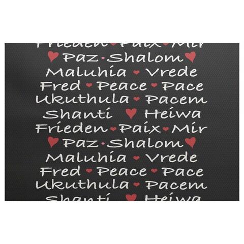 Words of Peace Black Word Print Indoor/Outdoor Rug (2'0 x 3'0)