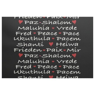 Words of Peace Black Word Print Indoor/Outdoor Rug (2'0 x 3'0)