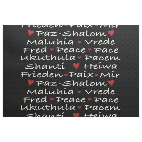E by Design 'Words of Peace' Black Indoor/Outdoor Novelty Rug (3' x 5')