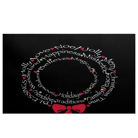 Wreath of Words' Black Word Print Indoor/Outdoor Rug
