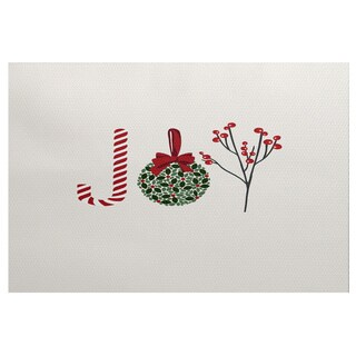 E by Design 'Oh Joy' Off-white Indoor/ Outdoor Holiday-themed Novelty Rug (3' x 5')