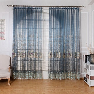 Dreaming Casa European Embroidered Grommet Top Sheer Curtain Panel