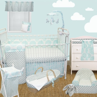 Cotton Tale Sweet and Simple Aqua/Blue 4-piece Crib Bedding Set