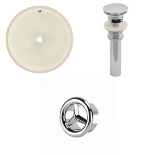 16-in. W Round Undermount Sink Set In Biscuit - Chrome Hardware - Overflow Drain Incl.